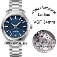 VSF Aqua Terra 150M 220.10.34.20.03.001 34mm A8800 Otomatik Kadın İzle Blue Wave Bayanlar SS Bilezik En Sürümü Saatler Puretime C3 Dial
