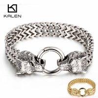 Kalen rock viking lobo charme pulseira de aço inoxidável homens 20.5cm 22,5 cm malha corrente de ouro lobo punk braceletes jóias biker 210323