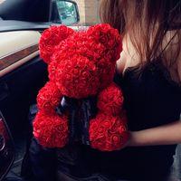 25CM الاصطناعي زهرة تيدي بير الأحبة رومانسية زهرة الدب لطيف زينة اليدوية علبة هدية روز الدب عيد الأم هدية BH1010 TQQ