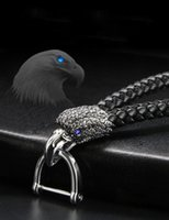 High quality car key chain with diamond eagle woven leather ...
