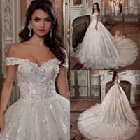 Vintage aus der Schulter Kurzarm Brautkleider Perlen Kristall Pailletten Luxus Ballkleid Brautkleid Plus Size 2020 Brautkleider
