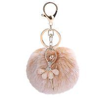 GEMIXI 8CM 귀여운 춤 천사 키 체인 펜던트 여성 키 링 홀더 Pompoms 열쇠 고리 여성 가방 액세서리 4.2 C19011001