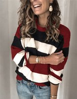 Women Stripe Hit Color Sweater Pullover Crew Neck Long Sleev...