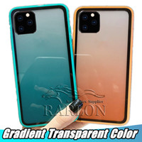 Pour iPhone 11 Pro MAX cas XR X XS arc-en clair TPU souple Protector Full Package couverture dégradé transparent couleur antichocs Case