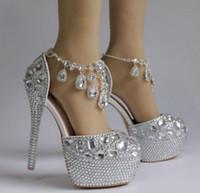 2021 Сексуальная Щепка Кристалл Свадебная Свадебная обувь Высокие каблуки 14 см 5 см Насосы Bling для Prom Вечернее Платье Платье Rhinestones