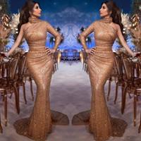 Arabie saoudite arabe Myriam Fares élégant avec une épaule robes de soirée sirène col haut à manches longues Paillettes soirée de bal Robes de soirée Robes