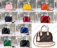 Сумки Crossbody кожаные подлинные плечо ALMA блокировки сумки сумки женские сумки кошелек коричневый состав цветок сумки буква оболочки дизайнер lsegv