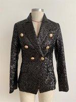 Boyun Katı Renk Kadın Blazer Bayan Tasarımcı Sequins Hırka Blazers Casual Dişi Skinny Çift Breasted Giyim Yaka