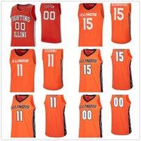 2020 Basketbol 15 Giorgi Bezhanishvili 11 Ayo Dosunmu 10 Andres Feliz 21 Kofi Cockburn Koleji Jersey Illini Mücadele Özel Mens Illinois
