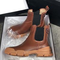 Damen Ankle Boot aus Leder Schwarz Weiß Lederschuhe Mode Chunky Gummi 100% Echtes Leder Lug Sole Winter-Booties mit Box