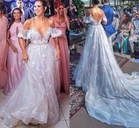 Modeste 2020 en dentelle blanche de Bohème Robes de mariée Une ligne spaghetti Boho de mariage de plage Robes sexy dos nu robe longue de mariée Robes de Novia
