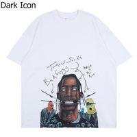 Oscuro Icono de gran tamaño Travis Scott más alta en la sala de toma de cactus AstroWorld camiseta de los hombres de las mujeres de alta calidad camisetas Streetwear Tops Tee