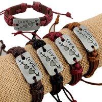 Креативные влюбленные кожаные браслеты очарование двойной сердца кожаный браслет моды пары ювелирных изделий женщины любят праздничные вечеринки подарок TTA942-6
