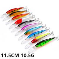 10 Cor 11,5 centímetros 10,5g Minnow Fishing Hooks anzóis 6 # gancho rígido Iscas Lures Pesqueiro B-008