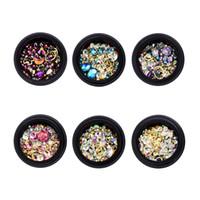 6 Kutu Karışık Nail Art Rhinestones Diamonds Kristaller Boncuk Charms Çivi Glitter Rhinestones Tırnak Takı Aksesuarları DIY El Sanatları