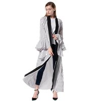 Etnik Giyim Sonbahar Kış Kadın Müslüman Elbise Dubai Abaya Beyaz Siyah Çizgili Uzun Flare Sleeve Robe Artı Boyutu Hırka İslam Kaftan
