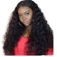 360 Dantel Frontal Kap ile Su Dalgası Precdufed İnsan Saç Siyah Kadınlar Için 360 Peruk 360 Peruk Bebek Saçlı Ağartılmış Knot ile Tam 180 Yoğunluk