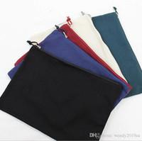 5 pz 34 cm * 24 cm Multicolore Blank Blank Cotton Cosmetico Borsa Cosmetica A4 Natural Canvas Zipper Sacchetto Plain Blank Zipper Borsa per il trucco