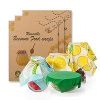 3pcs Lebensmittel Frische Tasche Deckel Abdeckung Beeswax Tuch waschbarer Kuche Safe Frischhalte Seal Werkzeuge Lebensmittel Bienenwachs-Wrap 4 Style