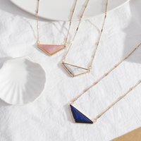 Мода розовый треугольник LAPIS Lazuli бирюзовый розовый кварцевый камень золота цветное выступление ожерелье для женщин девушка бренд ювелирных изделий