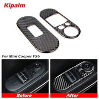 Kipalm réel en fibre de carbone Mini Cooper F56 porte fenêtre du panneau de commande Lifter commutateur autocollant Garniture intérieure autocollants pour Mini Cooper