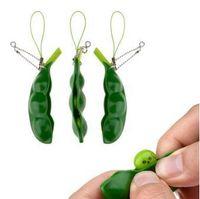 Lustige Fidget Spielzeug Squeeze Extrusion Bean Schlüsselanhänger Soybean Schlüsselanhänger Anti-Angst-Dekompression spielt mit Kleinpaket CCA8403 100pcs