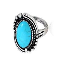 Moda Super retro azul lindo anel de turquesa Gemstone Oval Anel Mulher acessórios jóia por atacado Party os pares de férias Presentes dos amantes