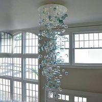 """현대 불어 유리 버블 샹들리에 터키석과 클리어 컬러 거실 계단 홈 인테리어-L 108 """"높은 LED 라운드 크리스탈 샹들리에"""