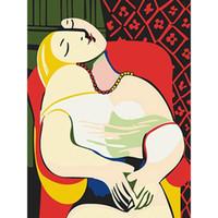 DIY Ölgemälde durch Zahlen Traum [Pablo Picasso] 50 * 40CM / 20 * 16 Zoll auf Leinwand für Hauptdekoration Kits [ungerahmt]