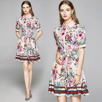 Sommer Runway Elegante Mode Floral Print Frauen Hemd Kleid Kurzarm Damen Sexy Büro Beiläufige Schärpen Bogen A-Linie Mini Designer Kleider