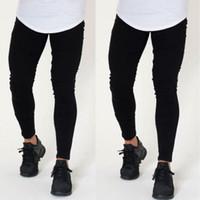 2018 neue Ankunfts-Mann Solid Black Jeans Stretchy Hosen dünne Biker Jeans Männer arbeiten beiläufigen Slim Fit Denim Bleistift Jenas Hosen