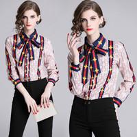 새로운 여성의 꽃 인쇄 셔츠와 목 보우 플러스 크기 우아한 긴 소매 숙녀 버튼 블라우스 활주로 사무실 디자이너 셔츠 탑스