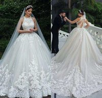 Luxury Lace Ball Gown Wedding Dresses 2020 Buttons Covered B...