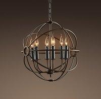 Loft Vintage Focaults Orb Lampadario in metallo Lampada a sospensione industial Lampada rustica per camera da letto Bar Soggiorno Home Lighting PA0279