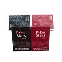 Kırmızı / Siyah Teksas Holdem Plastik Oyun Kart Oyunu Poker Kartları Su Geçirmez ve Donuk Lehçe Poker Yıldız Masası Oyunları