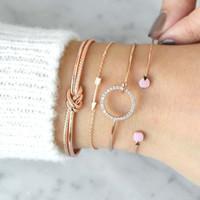 جديد الموضة النسائية مجوهرات 4PCS / مجموعة الذهب والفضة مطلي دائرة Bowknot حجر الراين شكل السهم سوار
