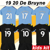 19 20 KUN AGUERO Kids Kit Soccer Jerseys DE BRUYN STERLING S...