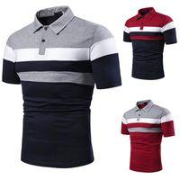 Diseñador para hombre Polos de verano de rayas remiendo del color para hombre de las camisetas cortas ocasionales de la manga de la solapa del cuello Hombre Polos