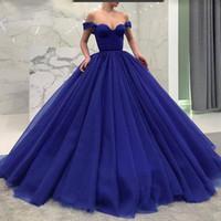 블루 Quinceanera Dresses 2019 겸손한 달콤한 16 볼 가운 주름 짧은 소매 댄스 파티 가운 얇게 썬 얇은 어깨에서 생일 파티 Vestidos de 15