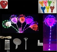 Luminoso LED Bobo Globo Iluminación de color transparente te amo Globos en forma de corazón con Pole Stic Wedding Party Decoraciones navideñas 2018