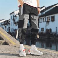 Jangesnow streetwear mens multi bolsos carga harem calças hip hop casual masculino pista calças corredores calças moda harajuku homens calças