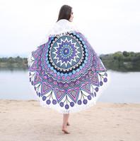 Mikrofaserstrandmatte Logo angepasst digital gedruckt rundes Strandtuch mit Fransen Tapisserie Decke Wohnkultur Yoga-Matten-Schal 150cm