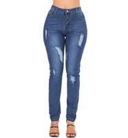 Moda Tasarımcısı Bayan Streç Yırtık Seksi Skinny Jeans Yüksek Belli Slim Fit Kot Pantolon Bayanlar için Biker Kalem Pantolon 734