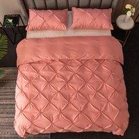 Set di biancheria da letto Set classico stile di lusso Stile di lusso Bed Duvet Cover Queen Size King Grigio Blu Rosa Black Color Funda Nordica T279