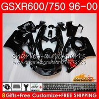 Cuerpo para Suzuki SRAD GSXR 750 600 GSXR-600 GSXR750 96 97 98 99 00 1HC.1 GSX-R750 GSXR600 GLOSSY BLACK 1996 1997 1998 1999 2000 Kit de carenización