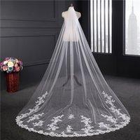 2020 New arrivel Veil gros mariée mariée net suisse mariage 1,8 mètres rangée arrière large de long voile de dentelle fleurs