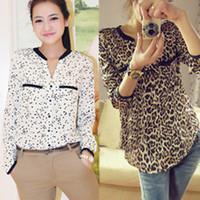 Yeni 2013 Kadınlar şifon Seksi Leopard uzun kollu Gömlek Üst Düğme Aşağı Bluz S / M / L artı boyutu Yaz Yazdır