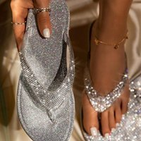 1pairs femmes Robe plat String Flops Sandales strass Loisirs Tongs Sandales flash Drilling Paillettes Tongs 3Colors