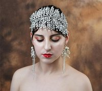 Vintage De Luxe Bandeau Strass Couronne Cristal Diadème De Mariée Coiffure Argent Cheveux Accessoires Bijoux Coiffure Ornement Chaîne
