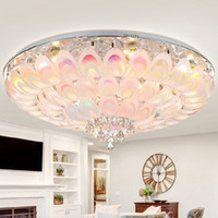 Peacock Round Crystal Ceiling Light For Living Room Bedroom ...